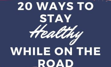 """Pinterest pin with two images. One image is of a woman's hands holding a suitcase. The second image is of a woman reaching her arms out of a car. Text overlay says, """"20 Tips for Staying Healthy While on the Road: don't get sick!"""""""