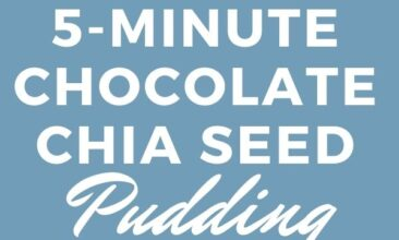 "Pinterest pin with images of chocolate chia seed pudding with a spoon in ramekins. Text overlay says, ""5-Minute Chocolate Chia Seed Pudding ...it tastes great, too!"""