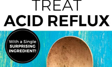 "Pinterest pin with two images of spoons with text overlay that says, ""Tread Acid Reflux with a Single Surprising Ingredient""."