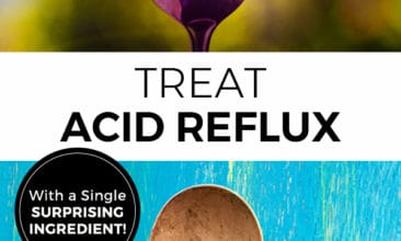 """Two images of spoons with text overlay that says, """"Tread Acid Reflux with a Single Surprising Ingredient""""."""