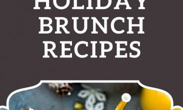 """Image is of a blue-grey table, decorated with wintery items, pine cones, snow flakes, glitter, snow, and glasses of orange juice, champagne and a plate of waffles, the other image is a close up of part of a pine tree, with fairy lights on it. Text Overlay reads """"50+ Decadent and Nourishing Holiday Brunch Recipes"""""""