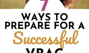 "Pinterest Pin with two images. The first image is of a woman holding her newborn baby. The second image is of a pregnant woman's stomach and a little girl hugging her. Text overlay says, ""Ways to prepare for a successful VBAC: 7 helpful tips""."