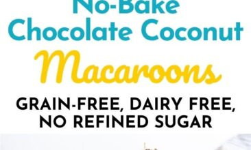 """Pinterest pin with two images. Images are of a plate of chocolate macaroons. Text overlay says, """"No-Bake Chocolate Coconut Macaroons - grain free & dairy free!""""."""