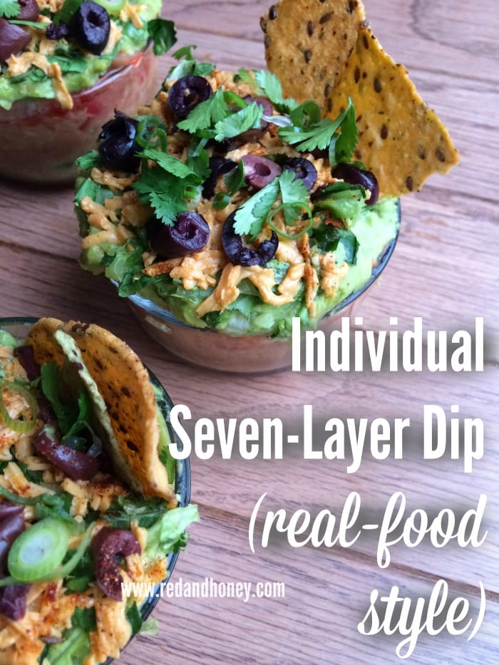 Individual Seven-Layer Taco Dip that are made with real-food ingredients and packed with some healthy twists for extra nutrition. These are delish!!