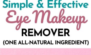 """Pinterest pin with two images. One image is of a mascara wand. Second image is of a bowl with coconut oil inside. Text overlay says, """"Natural Eye Makeup Remover: just one ingredient!"""""""