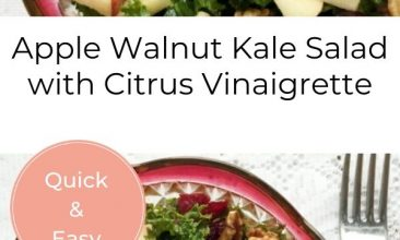 "Pinterest pin collage of the Kale, apple, walnut salad, in a bowl with a cranberry rim. Text overlay reads ""Apple Walnut Kale Salad with Citrus Vinaigrette"""