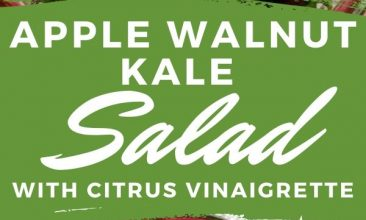 """Pinterest pin collage of the Kale, apple, walnut salad, in a bowl with a cranberry rim. Text overlay reads """"Apple Walnut Kale Salad with Citrus Vinaigrette"""""""