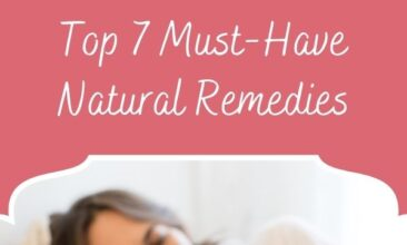 """Pinterest pin, image is of a woman lying in bed holding a thermometer. Text overlays says, """"Must Have Stomach Flu Checklist: 7 Natural Remedies!"""""""