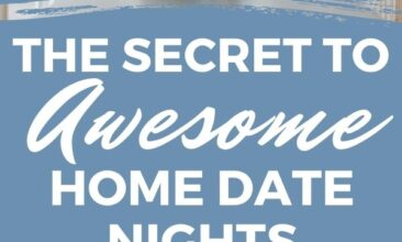 """Pinterest pin with two images. One image is of a couple sitting at a counter giving each other a kiss. The second image is of two wine glasses clinking in a toast. Text overlay says """"secret to home date nights: includes all five senses!"""""""