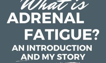 """Pinterest pin with two images, the first is of a woman laying face down on a bed sleeping. The second is a person holding a cup of black coffee. Text overlay says, """"What is Adrenal Fatigue + My Story""""."""