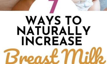 """Pinterest pin with two images. The first image is of a woman breast feeding her baby, the second image is of a bottle and bags filled with breast milk. Text overlay says, """"7 Ways to Naturally Increase Breastmilk Supply - especially #7!""""."""