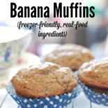 Banana muffins are classic comfort food. This recipe is super easy, and it uses all healthy, real-food ingredients. They freeze beautifully, too!