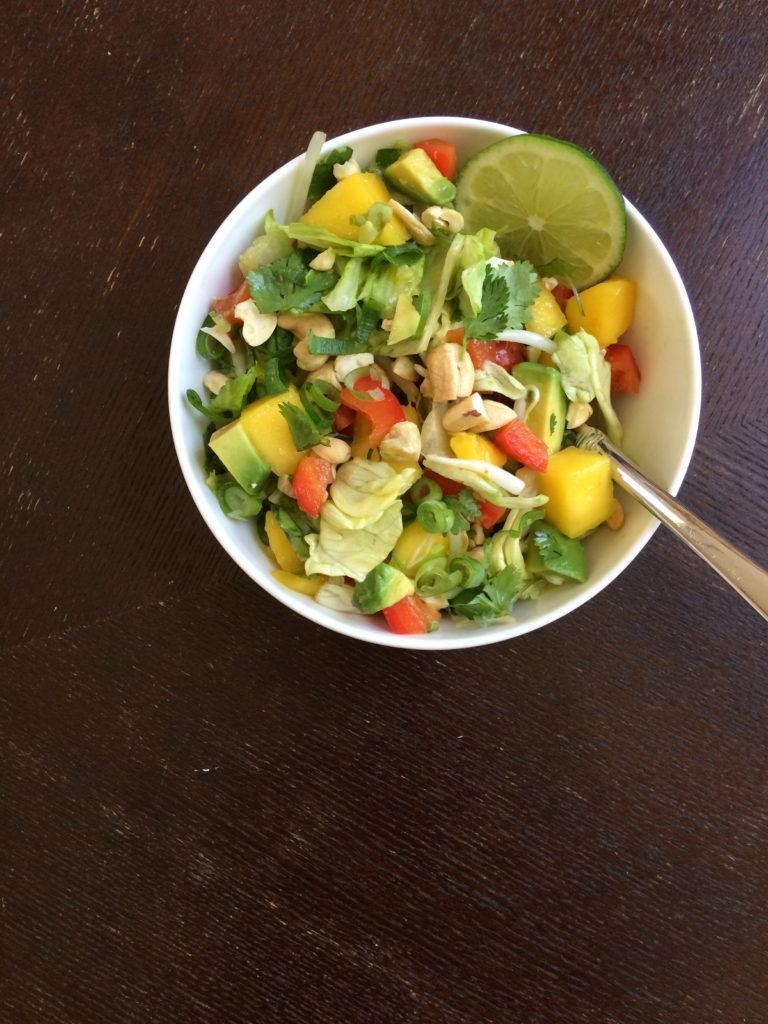 Thai Mango Salad with a Cashew Ginger Dressing