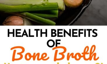 "Pinterest pin with two images. One image is of a pot filled with veggies. Second image is of a storage jar filled with bone broth. Text overlay says, ""Benefits of Bone Broth: is it worth the hype?"""