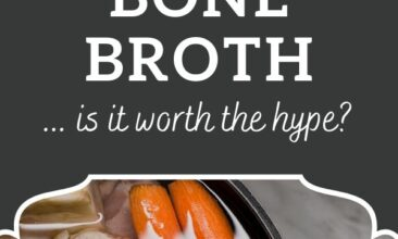 """Pinterest pin, image is of a pot filled with veggies. Text overlay says, """"Benefits of Bone Broth: is it worth the hype?"""""""