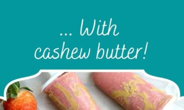 "Pinterest pin image is of strawberry, coconut, chia, cashew butter popsicles. Text overlay says, ""Strawberry Coconut Chia Popsicles... with cashew butter drizzle!"""