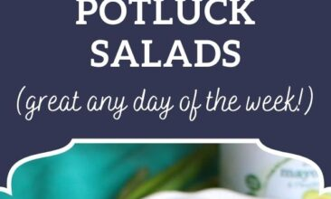 """Pinterest pin, image is of a white plate filled with a cobb salad. Text overlay says, """"30+ Crowd Pleasing Healthy Potluck Salads: Great any day of the week!"""""""