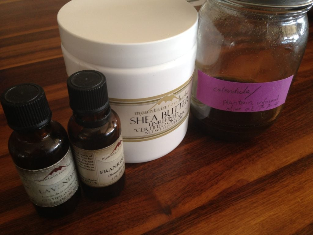 DIY Calendula-Infused Shea Butter Salve | Guest post by Virginia Miner Long ago I parted ways with most store-bought lotion and baby products, and this salve does the job of many products quite nicely.This... | RedAndHoney.com