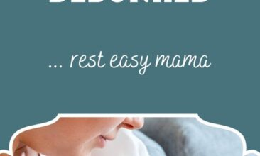 """Pinterest pin, image is of a baby nursing. Text overlay says, """"5 Breastfeeding Myths Debunked: rest easy mama!"""""""