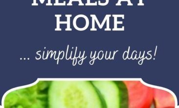 """Pinterest pin, image is of a plate of salad. Text overlay says, """"5 Time-Saving Tricks for Healthy Meals at Home: click for tips!"""""""
