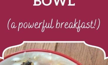 """Pinterest pin, image of a coconut banana berry breakfast bowl drizzled with almond butter. Text overlay says, """"Coconut banana berry breakfast bowl: a power breakfast!"""""""