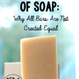 "Image is of a homemade bar of soap with text overlay that says, ""The Science of soap: why all bars are not created equal."""