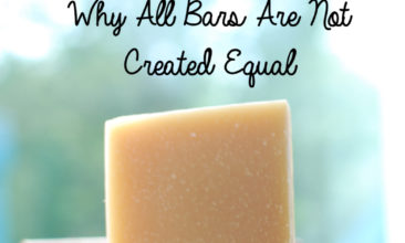 """Image is of a homemade bar of soap with text overlay that says, """"The Science of soap: why all bars are not created equal."""""""