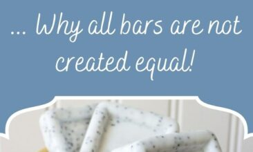 """Pinterest pin, image is of a 3 bars of soap and a lemon sitting on a bathroom counter. Text overlay says, """"The Science of Soap; why all bars are not created equal!"""""""