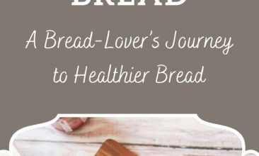 "Pinterest pin collage, first image is of a loaf of sourdough bread wrapped in a tea towel and held in the baker's hands, the second is of a wooden surface, with a cutting board on it and a loaf of fresh sourdough bread on top. Text overlay reads ""Adventures in Sourdough Bread: A Bread-Lover's Journey to Healthier Bread"""