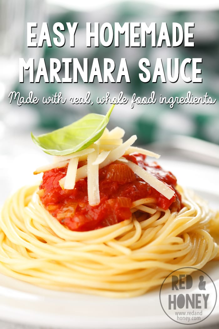This marinara sauce is the brainchild of two proclivities of mine: my obsession with real food and my addiction to DIY projects. At some point I realized that I could no longer bring myself to buy the pre-made sauces at the store, but it took me a little while to come up with a satisfactory substitute recipe that had the savory tang as well as the sweetness of the store bought stuff.