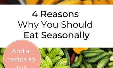 """A collage of different bright fall vegetables in greens, yellows and oranges. Text Overlay reads """"4 Reasons Why You Should Eat Seasonally"""""""