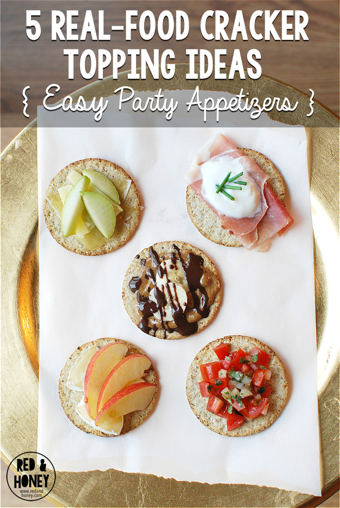 There are approximately a bajillion great real-food appetizer ideas out there on the world wide interwebs, but way too many of them require more prep time than I have to give these days. These simple cracker topping ideas are right up my alley!