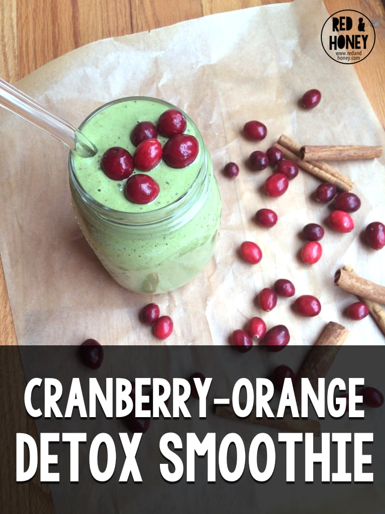 This festive detox smoothie is a great way to sneak your greens in while enjoying some of the season's best flavors. Cranberry and orange are a match made in heaven – plus cranberries are great for detoxing.