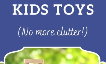 "Pinterest pin, image is of a toy basket filled with toys. Text overlay says, ""6 Smart Tips for Organizing Kids Toys: no more clutter!"""