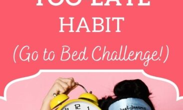 """Pinterest pin with two images. First image is of a girl in pajamas holding a giant yellow alarm clock by her head. The second image is of a woman in bed, sitting up and stretching with her arms above her head. Text overlay says, """"The 21-Day Go-To-Bed-Challenge: Get the rest you deserve!"""""""