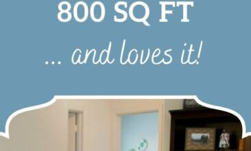 "Pinterest pin image is of a living room. Text overlay says, ""How our family of 5 lives in 800 sq. ft. and loves it!!"""