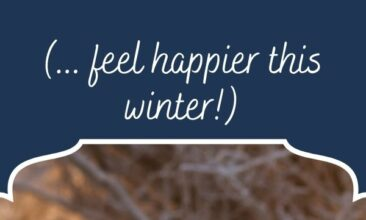 """Pinterest pin, image is of a woman bundled up for winter out in the snow. Text overlay says, """"5 Tips for Avoiding the Winter Blues: stay happy this winter!"""""""