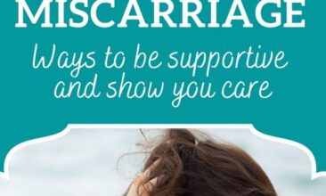 "Pinterest pin, mage is of a woman sitting by the ocean with her hand on her head. Text overlay says, ""How to Help A Loved One Through A Miscarriage: ways to show you care!"""