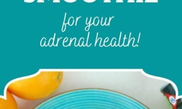 """Pinterest pin, image is of a smoothie on a fun blue plate with sliced oranges beside it. Text overlay says, """"Happy Adrenal Power Smoothie: for adrenal health!"""""""