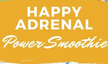 "Pinterest pin with two images. One image is of a smoothie on a fun blue plate with sliced oranges beside it. Second image is a side angle of a smoothie with sliced oranges. Text overlay says, ""Happy Adrenal Power Smoothie: for adrenal health!"""