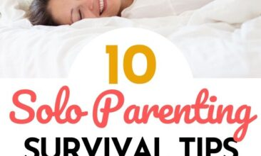 "Pinterest pin with two images. One image is of a mom laying on a bed with a kid on top of her. The other photo is of a mom getting a hug from her daughter, both are smiling. Text overlay says, ""10 Solo Parenting Survival Tips! (from a Pilot's wife)"""