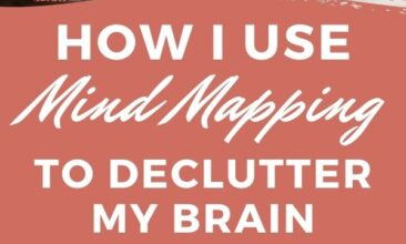 "Pinterest Pin with two images, both images show a person writing in there notebook. Text Overlay says ""How I use Mind Mapping to Declutter my Brain!"""