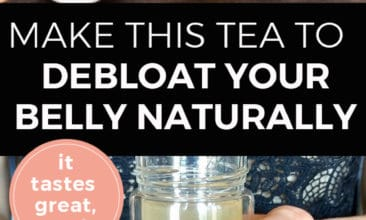 """Pinterest pin with two images. The first image is a cup of tea with a slice of lemon in it sitting on a table with ginger, honey, lemon and mint. The second image is of a woman holding a large bottle of tea. Text overlay says, """"Make This Tea to Debloat Your Belly Naturally ...it tastes great, too!""""."""