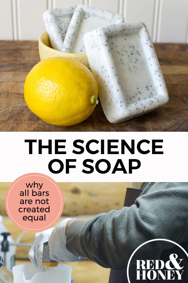 "Pinterest pin with two images. The first image is of a 3 bars of soap and a lemon sitting on a bathroom counter. The second image is of a man pouring ingredients together with googles on making soap. Text overlay says, ""The Science of Soap; why all bars are not created equal!"""