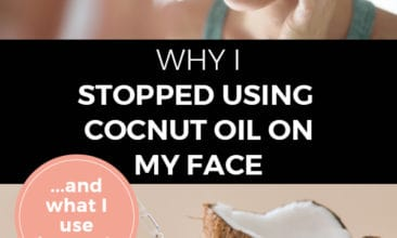 """Pinterest pin with two images. The top image is of a woman looking at her face in a mirror touching her cheek, the other is of a broken open coconut. Text overlay says """"Why I stopped using coconut oil... and what I use instead""""."""