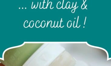 "Pinterest pin, image is of a hand squeezing homemade toothpaste on a toothbrush. Text overlay says, ""Homemade Toothpaste... with clay & coconut oil!"""
