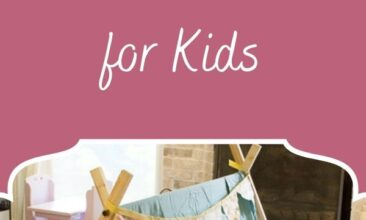 """Pinterest pin, image is a play tent in a living room. Text overlay says, """"Simple DIY Play Tent for Kids - easy to follow tutorial""""."""