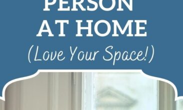 """Pinterest pin, image is of a woman sitting on a couch looking off to one side in thought. Text overlay says, """"11 Tips for the Highly Sensitive Person at Home. Love your space!""""."""