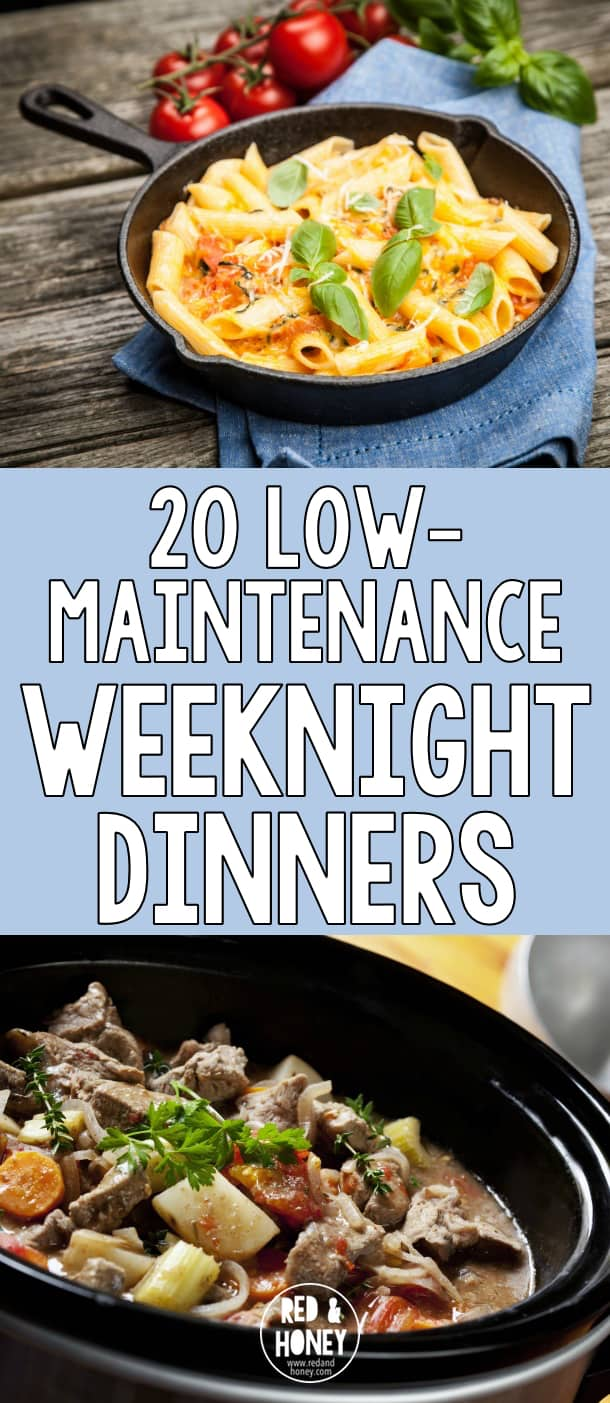 Weeknight dinner prep can be tough to juggle with kids who want your attention after school. I save our sanity by relying on simple, low-maintenance weeknight dinner ideas like these.