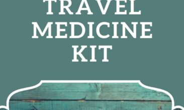 """Pinterest pin; image is of a suitcase packed for travel. Text overlay says, """"10 Must Haves in My Natural Travel Medicine Kit: never leave home without it!"""""""